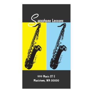 Lecciones del saxofón, instructor, tarjeta de la tarjetas de visita