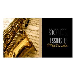 Lecciones del saxofón, música, tarjeta de visita