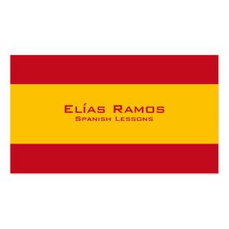 Lecciones españolas profesor español tarjetas de visita