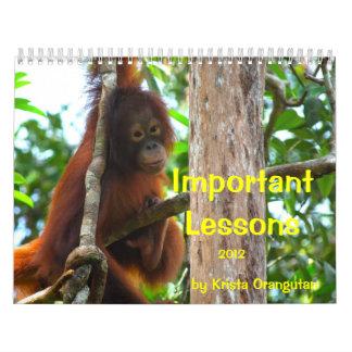 Lecciones importantes para los niños por el calendario de pared