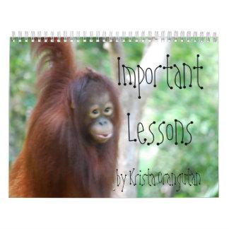 Lecciones importantes para los niños por el orangu calendario de pared