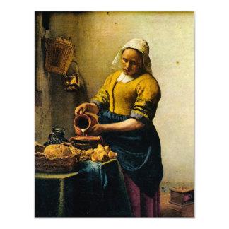 """Leche de colada del Maidservant de Vermeer (circa Invitación 4.25"""" X 5.5"""""""