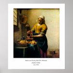 Leche de colada del Maidservant de Vermeer (circa  Poster