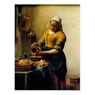 Leche de colada del Maidservant de Vermeer (circa Postal