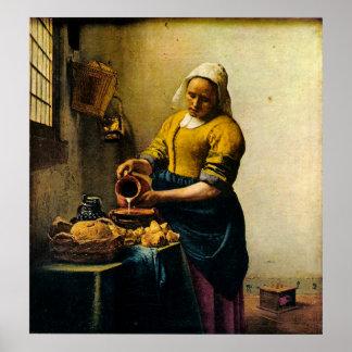 Leche de colada del Maidservant de Vermeer (circa  Póster