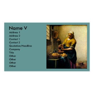 Leche de colada del Maidservant de Vermeer circa Tarjetas De Negocios