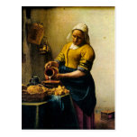 Leche de colada del Maidservant de Vermeer (circa  Tarjetas Postales