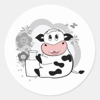 Leche de consumo de la vaca pegatina redonda