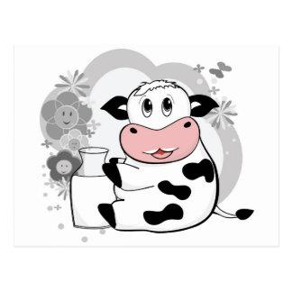 Leche de consumo de la vaca tarjeta postal