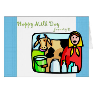 Leche día 11 de enero feliz tarjeta de felicitación