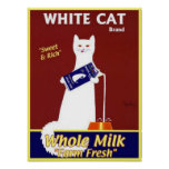 Leche entera de la marca blanca del gato impresiones