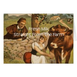 Leche fresca derecho de la granja tarjeta de felicitación