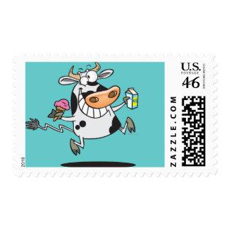leche linda feliz del helado del dibujo animado de