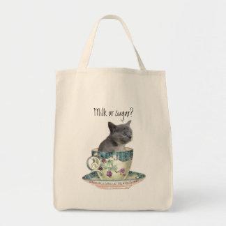 ¿Leche o azúcar? Bolso del gatito Bolsa Lienzo