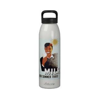 Leche para el poster del vintage de la sed del ver botella de agua