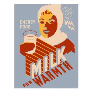 Leche - para la comida de la energía del calor tarjeta postal