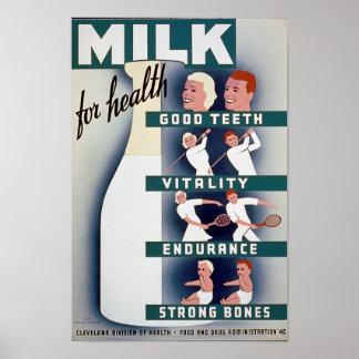 Leche - para la salud, buenos dientes, vitalidad, póster