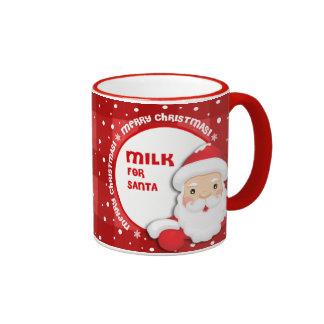 Leche para Papá Noel. Tazas del regalo del navidad
