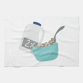 Leche y cereal toalla de cocina