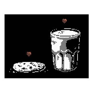 Leche y galleta en postal del arte del pixel del a
