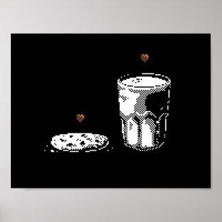 Leche y galleta en poster del arte del pixel del a