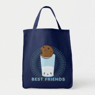Leche y galletas backsplash del círculo bolsas de mano