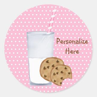 leche y galletas pegatina redonda