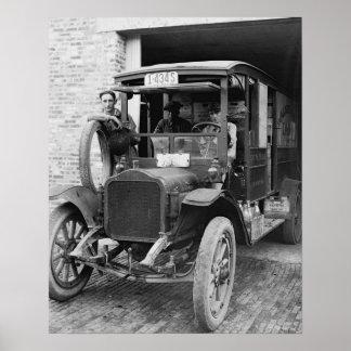 Lechería Truck, 1921. Foto del vintage Póster