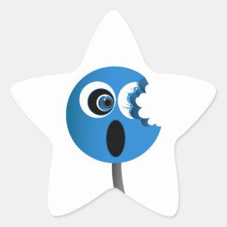 Lechón azul pegatina en forma de estrella