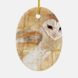Lechuza común adorno navideño ovalado de cerámica