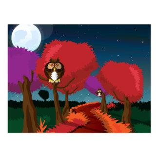 Lechuza común en el arte del claro de luna postal