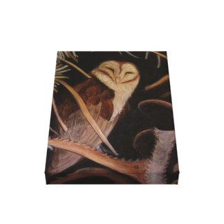 lechuza común en la pintura animal en colores past impresión en lona estirada
