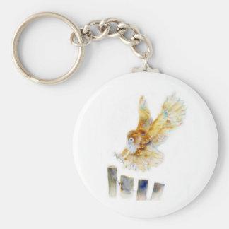 Lechuza común llavero redondo tipo pin