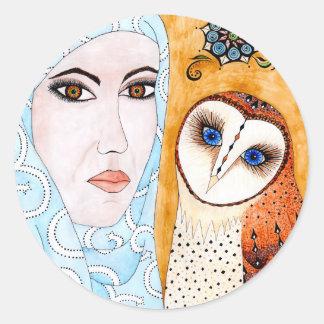 Lechuza, de velo & mujer pegatina redonda