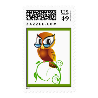 lechuza_Vector_Clipart cartoon owl teacher smart Postage