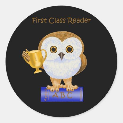 Lector de la primera clase pegatinas redondas