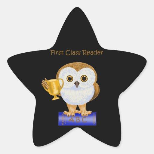 Lector de la primera clase calcomania forma de estrella personalizadas