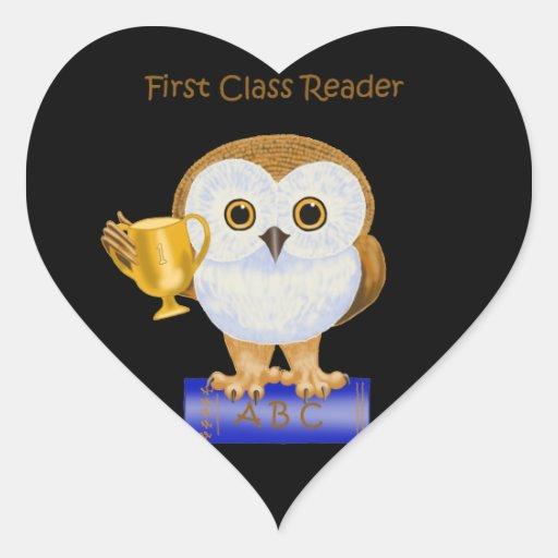 Lector de la primera clase colcomanias corazon personalizadas