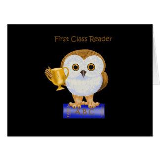 Lector de la primera clase tarjeta de felicitación grande