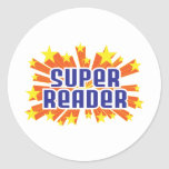 Lector estupendo etiquetas redondas