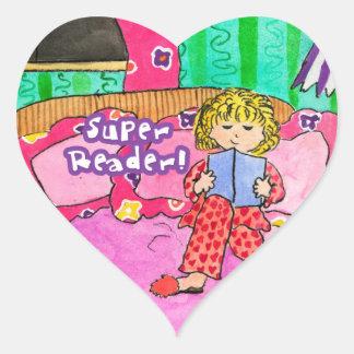 Lector estupendo pegatina de corazón personalizadas