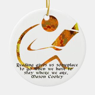 Lector - ornamento ligero de oro adorno navideño redondo de cerámica