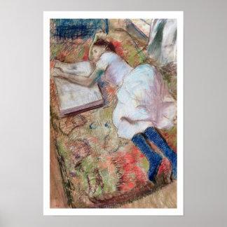 Lector que se acuesta c 1889 en colores pastel e poster