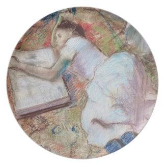 Lector que se acuesta, c.1889 (en colores pastel e plato