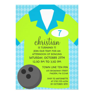 'Lectric Lime Join the Team Bowling Birthday Party Custom Invites