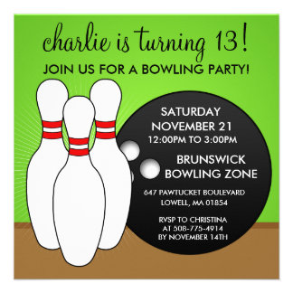 'Lectric Lime Let's Have a Ball Bowling Birthday P Invite