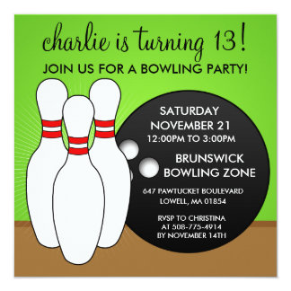 "'Lectric Lime Let's Have a Ball Bowling Birthday P 5.25"" Square Invitation Card"