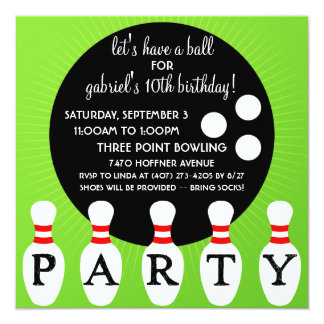 'Lectric Lime Pin Party Bowling Birthday Party Card