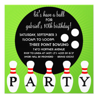 'Lectric Lime Pin Party Bowling Birthday Party Personalized Announcements