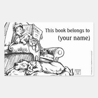 Lectura a la placa de libro del gato y del perro pegatina rectangular